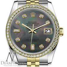 Women's Rolex 26mm Datejust 2 Tone Black MOP Mother Of Pearl with 8+2 Diamond