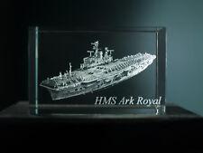 HMS ARK ROYAL 2D / 3D LASER ETCHED GLASS CRYSTAL