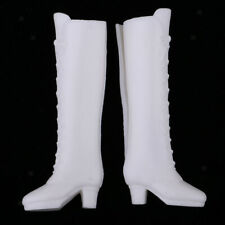 Fashion White Plastic Boots Shoes for Blythe Licca for Dollfie DOD 1/6 BJD