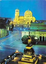 Bulgaria Sofia Place Narodno Sobranie Monument Statue Illuminated