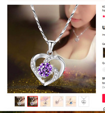 925 Sterling Silver Chain Choker Necklace Luxury Purple CZ  Heart Pendant