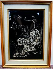 "Signed ""Chinese Tiger"" Mother of Pearl Inlay on Black Wood Artwork 19x14"" B5306"