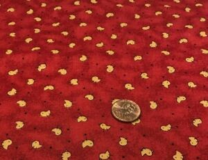 """Tossed Baby Yellow Chicks on Brick Red*Fabri-Quilt*100% Cotton Remnant 22"""" x 8"""""""