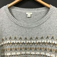 J.CREW Women's Gray Fair Isle Merino Wool Blend Pullover Sweater sz XL