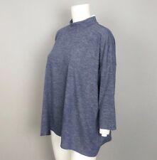 Ann Taylor LOFT NWT Blue Gray Boxy Mock Neck Oversized Top 3/4 Sleeve Sz Medium