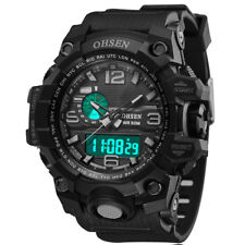OHSEN Men Sport Watches Analog Quartz Dual Time Digital LED Rubber Wristwatch
