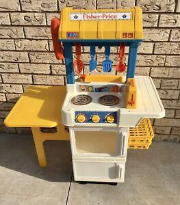 RARE Vintage Fisher Price Fun Food Kitchen Fridge Stove Oven Sink Playset