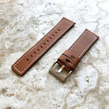 Brown Stitched Soft Leather Band Strap for Samsung Gear S3 Frontier & Classic