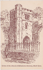 Old postcard of the Tower of the Church of Allhallows Staining, Mark Lane.