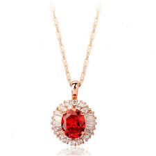 18K ROSE GOLD PLATED GENUINE CLEAR & RUBY RED AUSTRIAN CRYSTAL & CZ NECKLACE