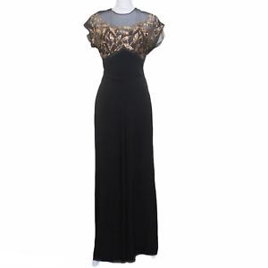 Vintage 1940s Black Bias-Cut Evening Gown Illusion Style Gold Sequin Bodice M