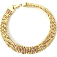 9ct Gold Ladies Bracelet Woven Flat Yellow NEW 7.5mm Wide 6.9g 7.5 Inches