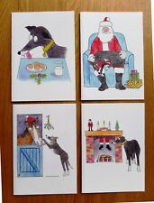 Tia Rescue Christmas Cards for dog Charity. Pack of 12 cartoon greyhound cards.