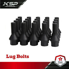 Black M14x1.5 27mm Shank Cone Seat Lug Bolts For Audi VolksWagen Mercedes Benz