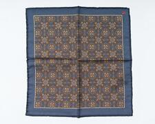 "Isaia $120 Blue Brown Medallion Print Pocket Square Wool Silk Blend 13"" 33 cm"
