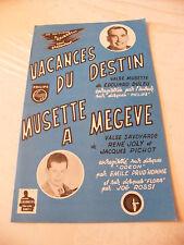 Partition Vacances du destin Duleu Musette à Megeve Joly Pichot