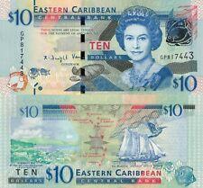 East Caribbean States 10 Dollars (ND/2015) - Green-Throated Carib/p52b UNC