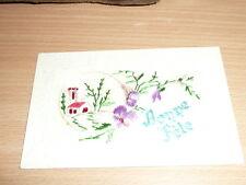 carte postale ancienne fantaisie brodée sur tule, bonne fete