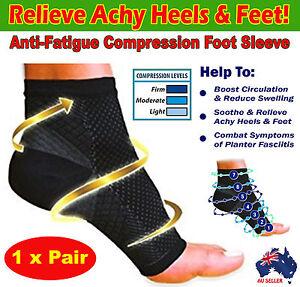 Compression Foot Ankle Socks Sleeves Plantar Fasciitis Heel Sore Achy Swelling