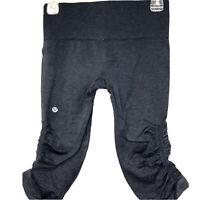 Lululemon In The Flow Heathered Gray Blue Crop Pants Women 6 Seamless Yoga