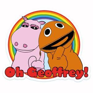 George And Zippy Rainbow Oh Geoffrey Vinyl Sticker