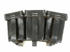 WWII German Leather 3-Cell Mauser Ammo Belt Pouch - Dated 1940 - Reproduction