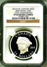 2014 S$25 Canada First Royal Visit 75th Ann. High Relief NGC PF69 UC Box & COA