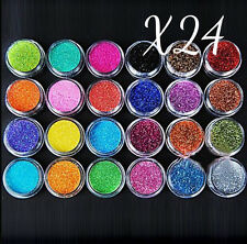 24 PCS Nail Art Polvere Glitter Set Acrilico Gel UV Tips Decorazione DIY