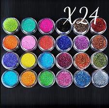 24 PCS Nail Art Polvere Glitter Set Acrilico Gel UV Tips Decorazione DIY