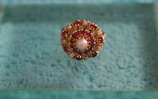 Antique 10k Yellow Gold Ruby Pearl Cluster Ring Size 8