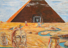 Original Surrealist portrait figures pyramid oil painting signed
