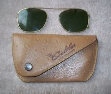 VINTAGE AO AMERICAN OPTICAL C11-46-18 CALOBAR CLIP ON SUN GLASSES w/LEATHER CASE