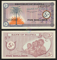 BIAFRA 5 Shillings 1967 P-1 Palm Tree UNC Uncirculated