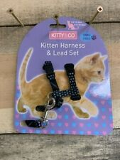 Kitty & Co Spotty Kitten Harness and lead New Adjustable Size Black with Spots