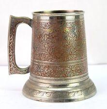 Vintage Brass Enamel Work Beer mug Hand Engraved Kitchen Milk Jug. G66-463 US