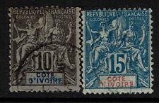 Ivory Coast SC# 5 and 7, Used, tiny pinhole in 7 - Lot 022617