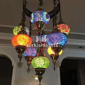 FREE SHIPPING TO USA, 9 Ball Mosaic Chandeler with No2 Globes, by FalconMosaic