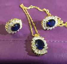 SET Blue Sapphire Sim Diamond Matching Oval Gold Filled Necklace Earrings PlumUK