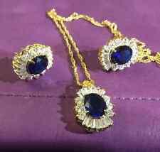 SEB01 Necklace earrings OVAL BLUE SAPPHIRE sim diamonds 18k gold filled PlumBOXD