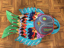 Thai Tribal Ethnic Handmade Vintage Embroidered Patchwork & Beads FISH Tote Bag
