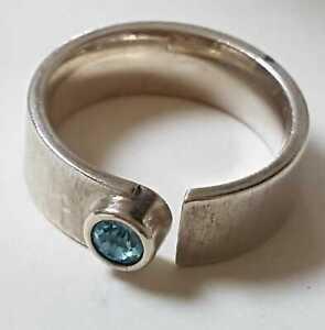 Vintage Designer Ring mit Blauen Stein aus 925er Meisterpunze Silber Größe 54