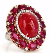 GIA Certified 20.30ct Natural Rhodonite Ruby Diamonds Cocktail cluster ring 18kt