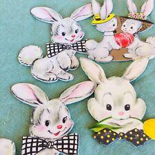 Vintage Easter Bunny Decorations Cardboard Rabbits Eggs