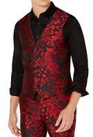 INC Mens Suit Vest Black Red Size XL Slim-Fit Jacquard-Front 5-Pocket $69 138