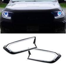 White LED Front Headlights Lamp Cover Trim For 2015-up Ford Ranger T6 Facelift