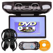 "Gray15.6"" HD Car Overhead Radio Roof Mount Flip Down DVD Player+2×IR Headphones"
