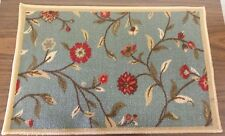 "RARE TEXTILE KITCHEN RUG, (nonskid back) (20"" x 30"") FLOWERS in BLUE GARDEN"