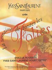 ▬► PUBLICITE ADVERTISING AD Yves Saint Laurent Rouge à lèvres 1994