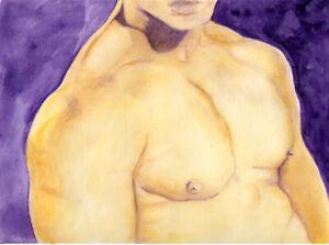 Painting NUDE male Canary watercolor 1/7/50 #ArtofEsteban