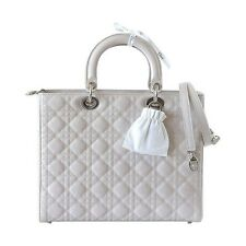 Christian Dior Bag Large Lady Dior Pearl Grey Patent Leather Quilted Cannage
